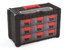 Plastový organizér závěsný MULTICASE CARGO 400x200x260 červené úchyty
