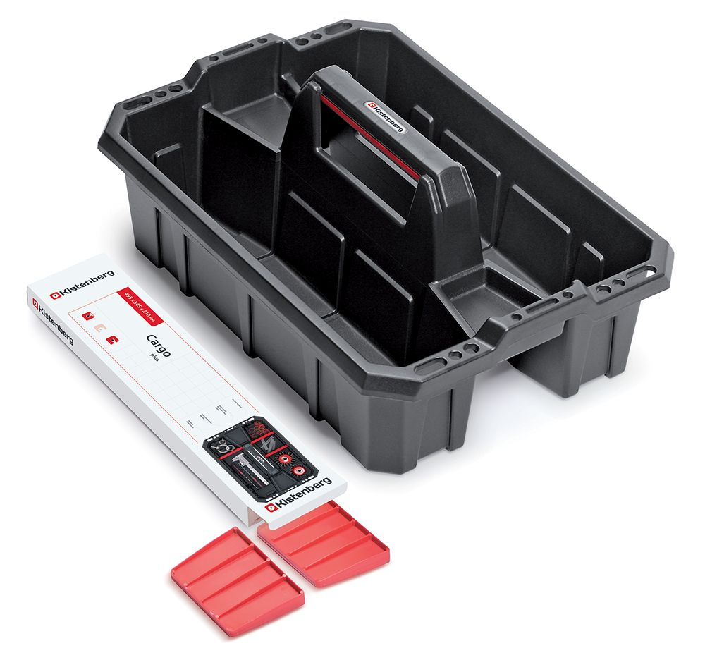 PROSPERPLAST Přepravka na nářadí s přihrádkami CARGO PLUS černá/červená 300x300x133