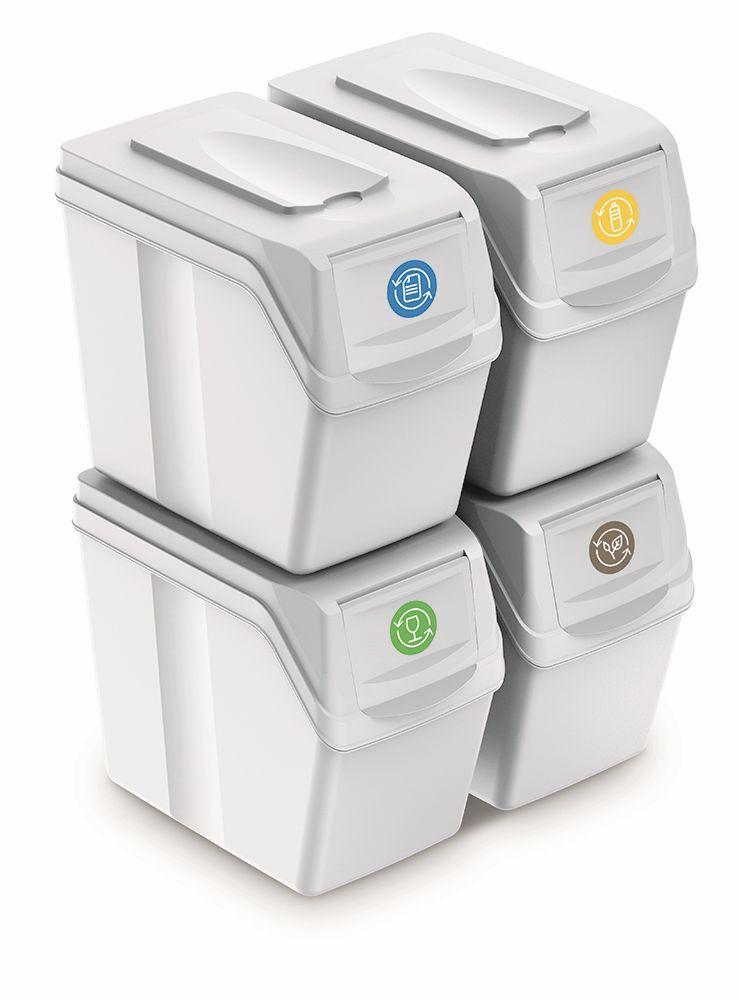 PROSPERPLAST Sada 4 odpadkových košů SORTIBOX I bílá, objem 4x20L