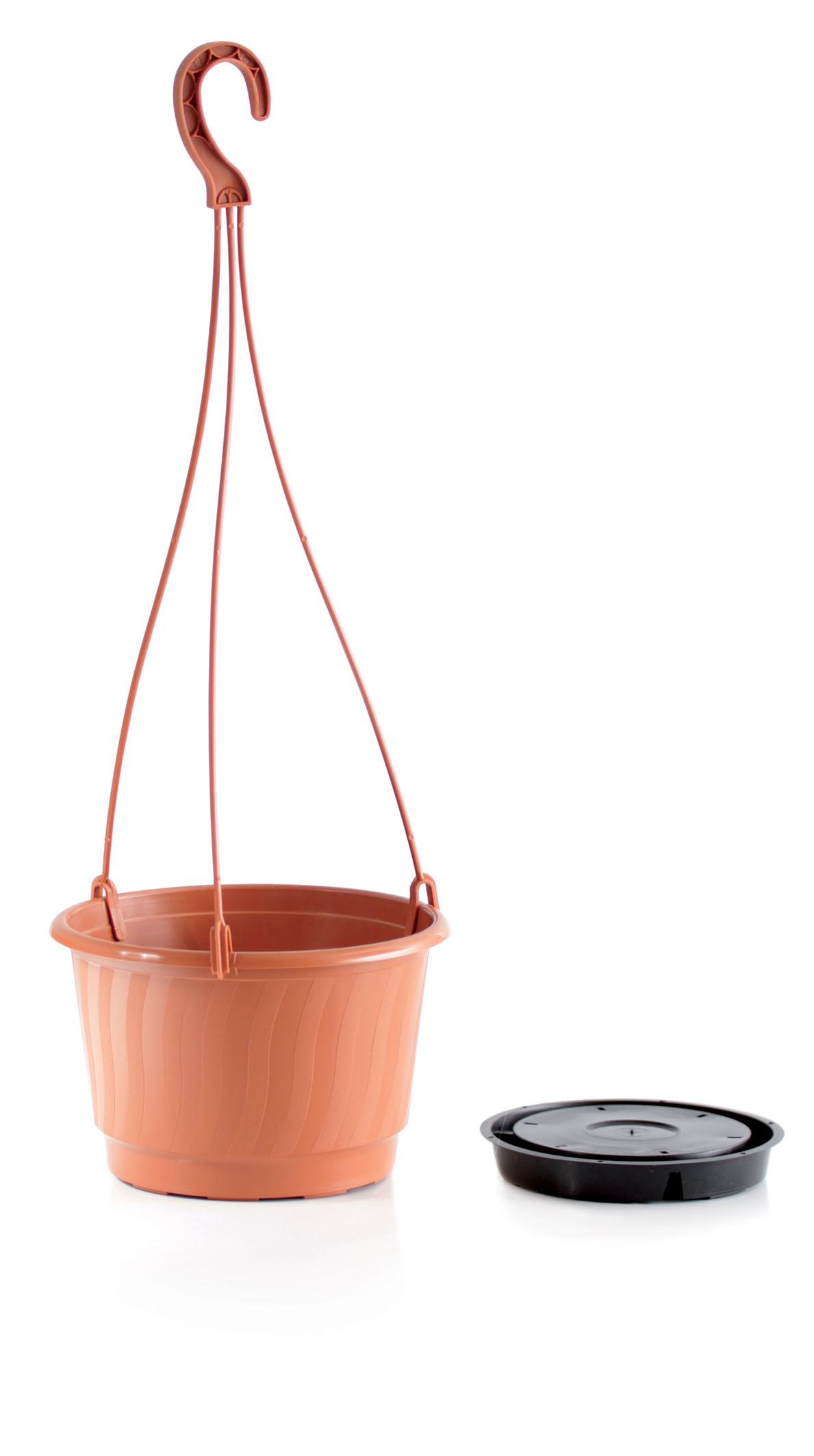 PROSPERPLAST Květináč závěsný PRO terakota 21cm+HÁK a VKLAD 1