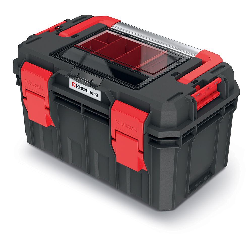 PROSPERPLAST Kufr na nářadí s organizérem ve víku, kov. držadlo X BLOCK SOLID 450x280x264