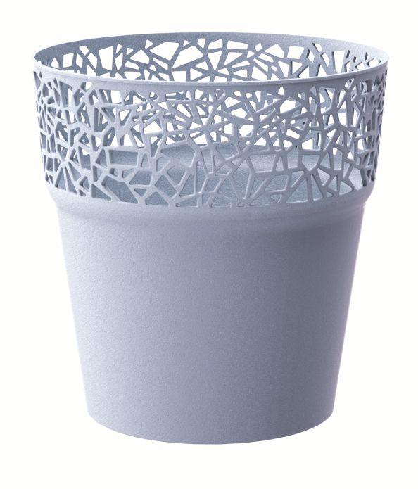 PROSPERPLAST Květináč s krajkou TREE ledově šedý 17,5 cm