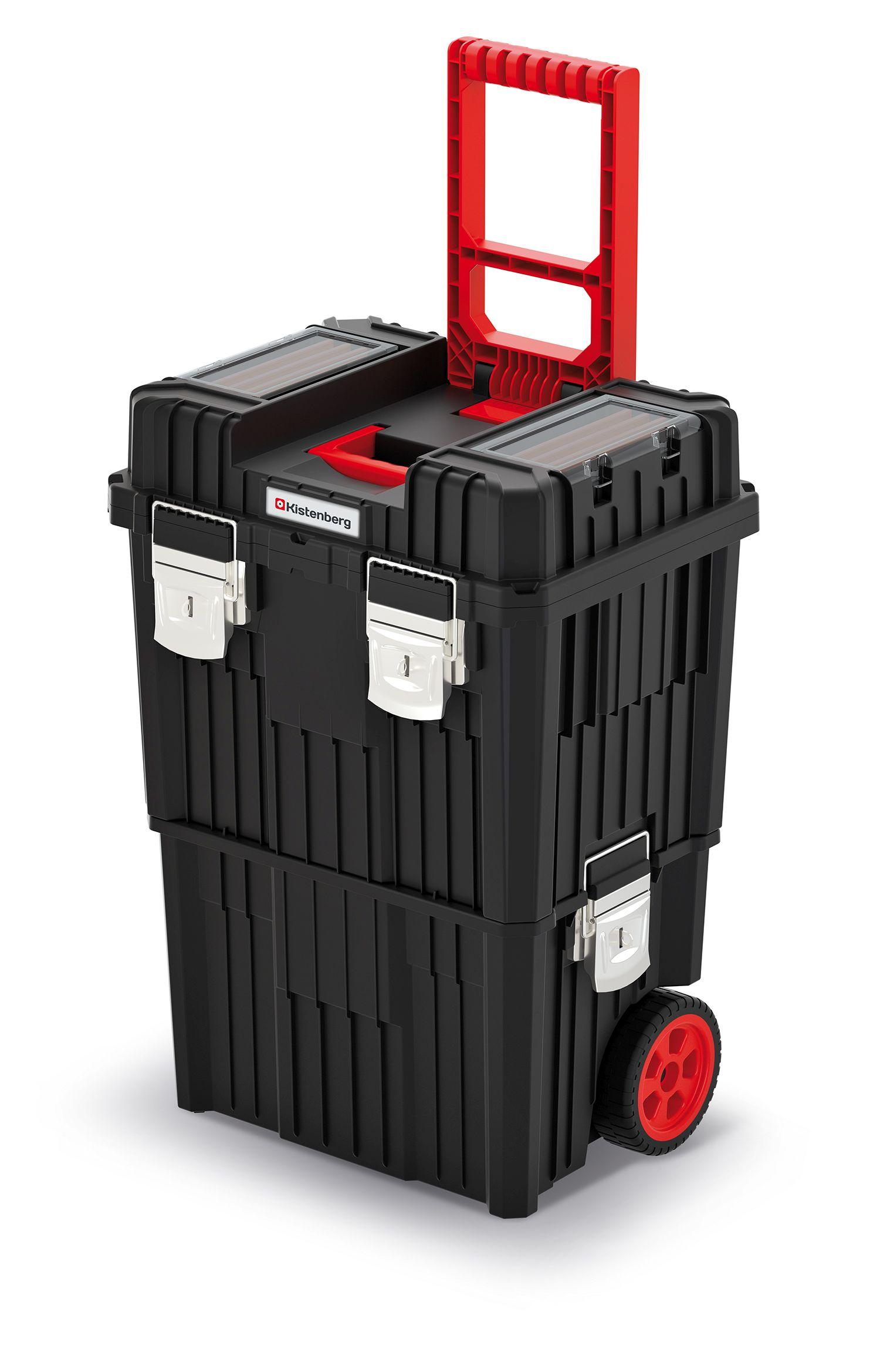 PROSPERPLAST Modulární kufr na nářadí s transp. kolečky a kov. zámky HEAVY černý 450x360x640