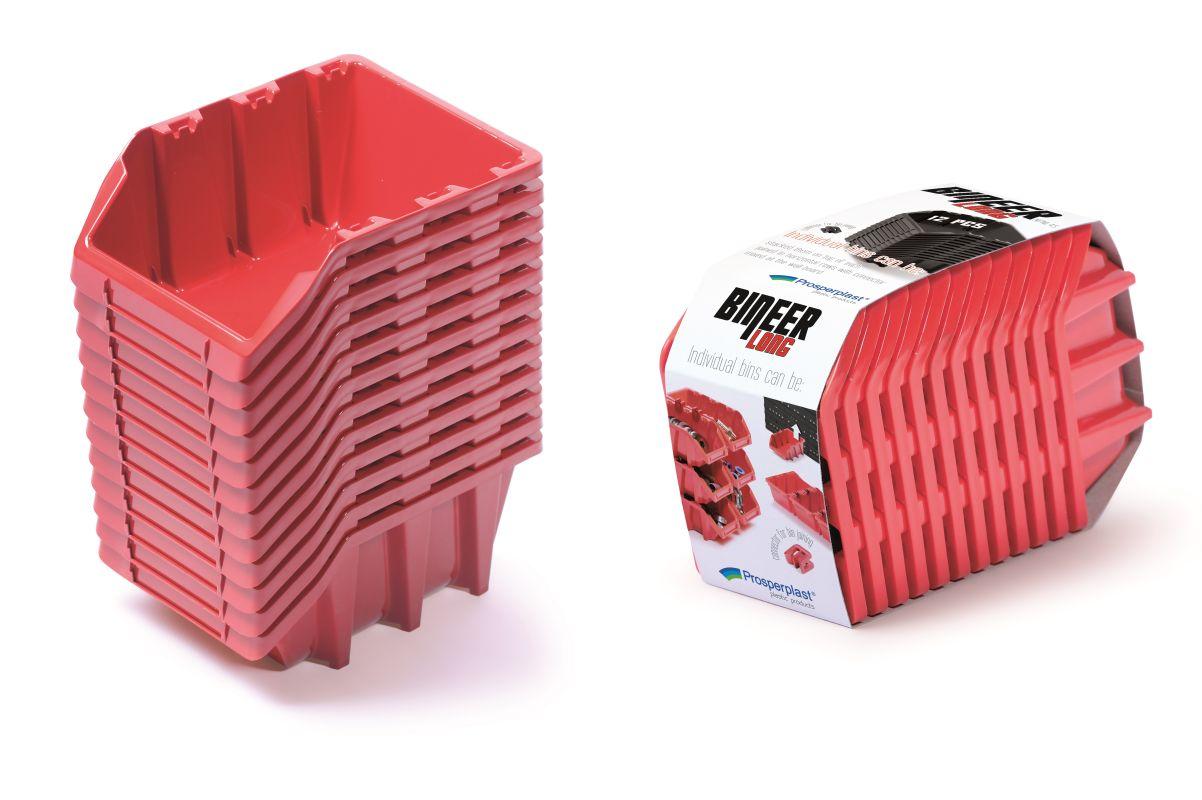 PROSPERPLAST Set úložných boxů 12ks BINEER LONG SET 190x77x120 červený