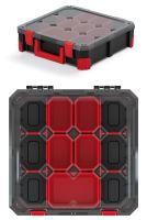 Organizér TITAN - 5 krabiček + přepážky, průhledné víko 390x390x110