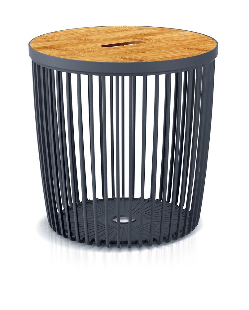 PROSPERPLAST Univerzální koš CLUBO s bambusovým víkem antracit 33,5cm