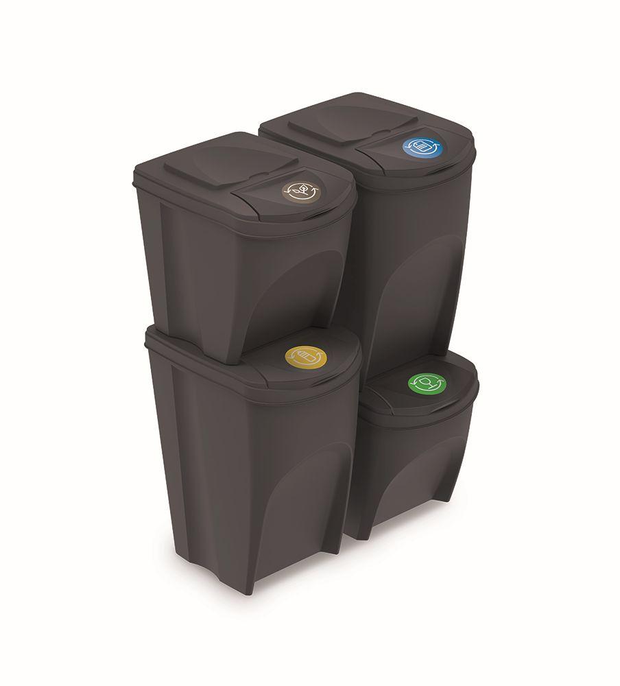 PROSPERPLAST Sada 4 odpadkových košů SORTIBOX antracit, objem 2x25l a 2x35l