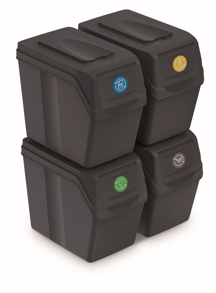 PROSPERPLAST Sada 4 odpadkových košů SORTIBOX I antracit, objem 4x20L
