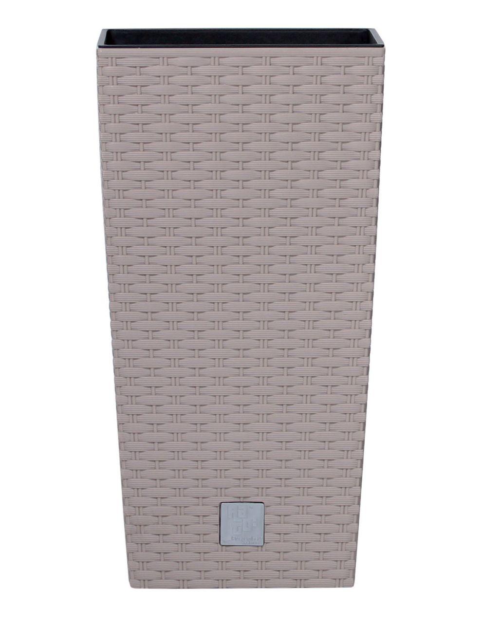 PROSPERPLAST Květináč RATO SQUARE + vklad mocca 40,0cm