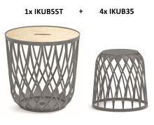 Set univerzálních košů UNIQUBO 4+1 šedý kámen