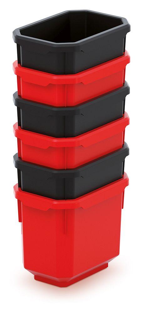 PROSPERPLAST Sada 6 plastových boxů na nářadí TITAN BOX 110x75x263 černé/červené