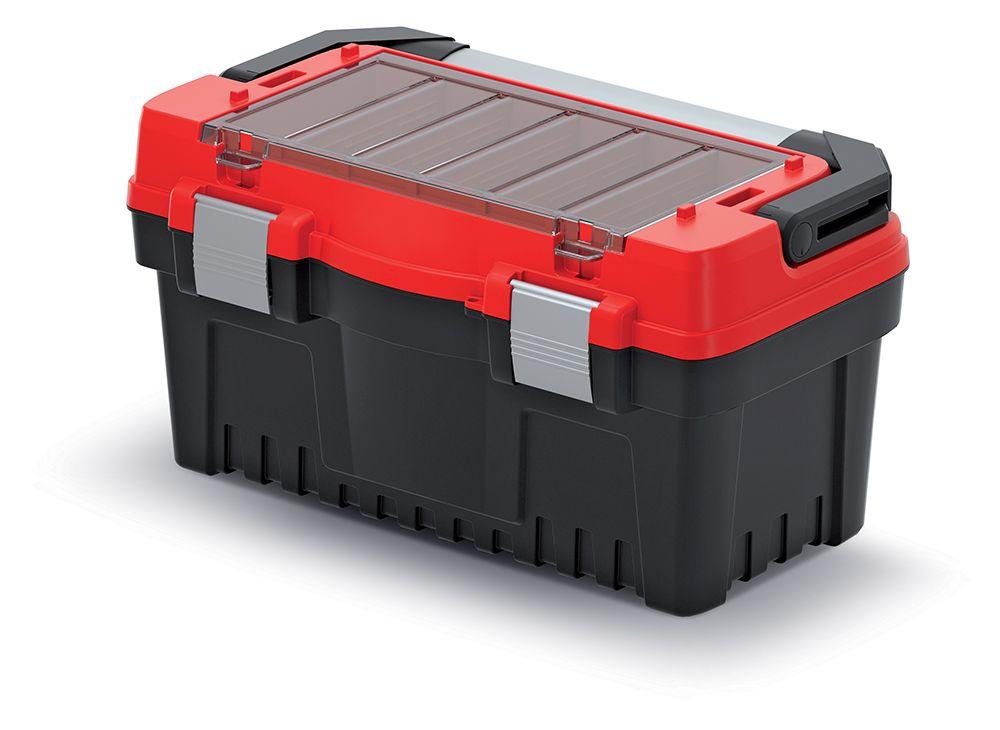 PROSPERPLAST Kufr na nářadí s kov. držadlem a zámky EVO červený 476x260x256