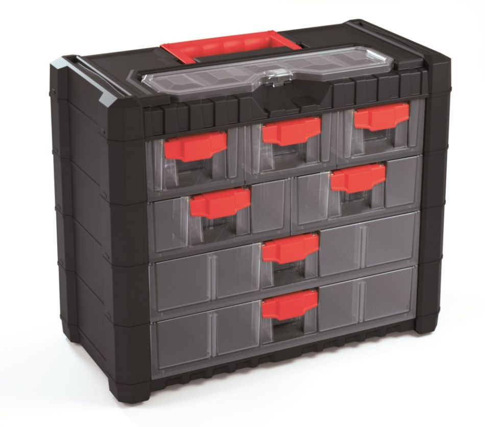 PROSPERPLAST Plastový organizér závěsný MULTICASECARGO 400x200x326 červené úchyty