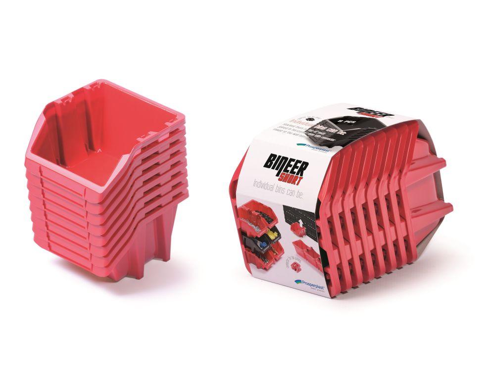 PROSPERPLAST Set plastových úložných boxů 8ks BINEER SHORT SET 206x118x144 červený