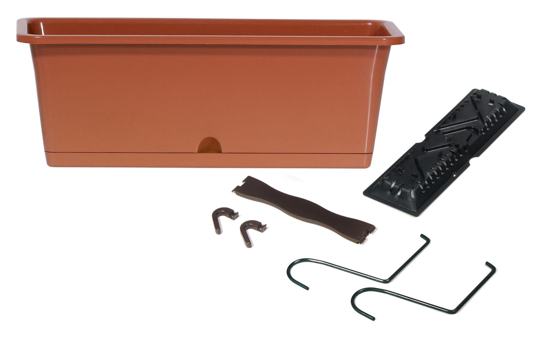 PROSPERPLAST Truhlík CAMELIA W s háky terakota 40,2cm