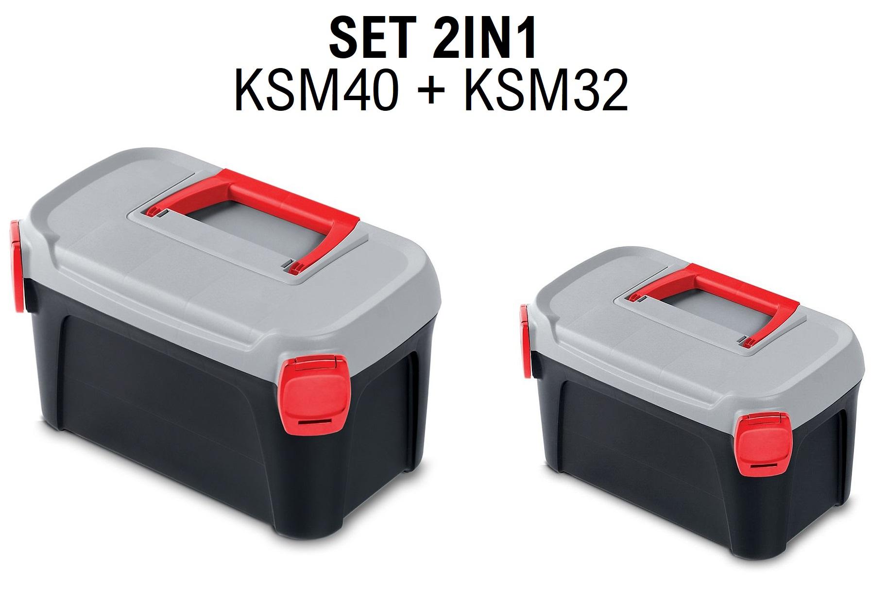 PROSPERPLAST Sada kufrů na nářadí SMART s šedým víkem 380x234x225+328x178x160