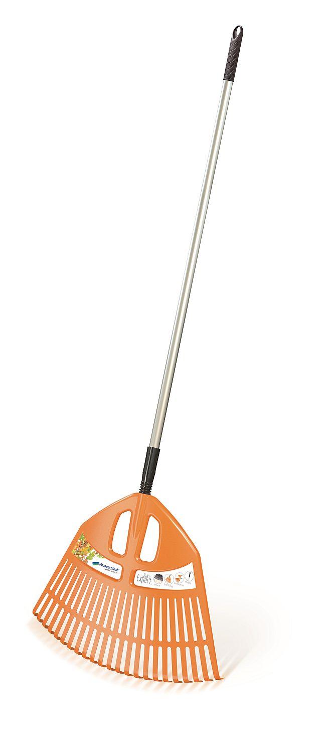 PROSPERPLAST Hrábě EXPERT ALU oranžové, kovová násada 195cm