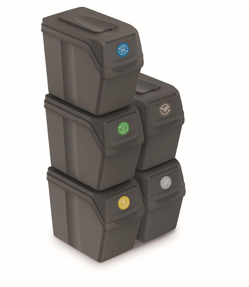 PROSPERPLAST Sada 5 odpadkových košů SORTIBOX I šedý kámen, objem 5x20L