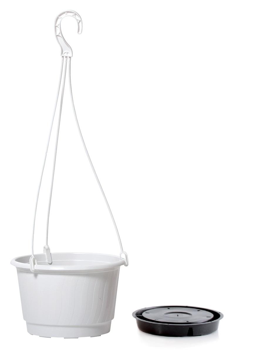 PROSPERPLAST Květináč závěsný PRO bílý 24cm+HÁK a VKLAD 2