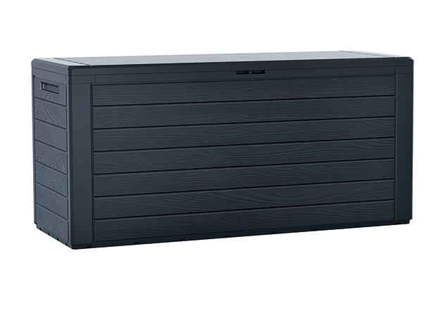 PROSPERPLAST Zahradní box WOODEBOX antracit 116 cm - 280L