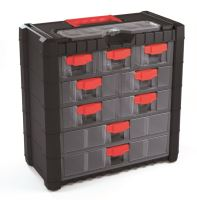 Plastový organizér závěsný MULTICASE CARGO 400x200x392 červené úchyty