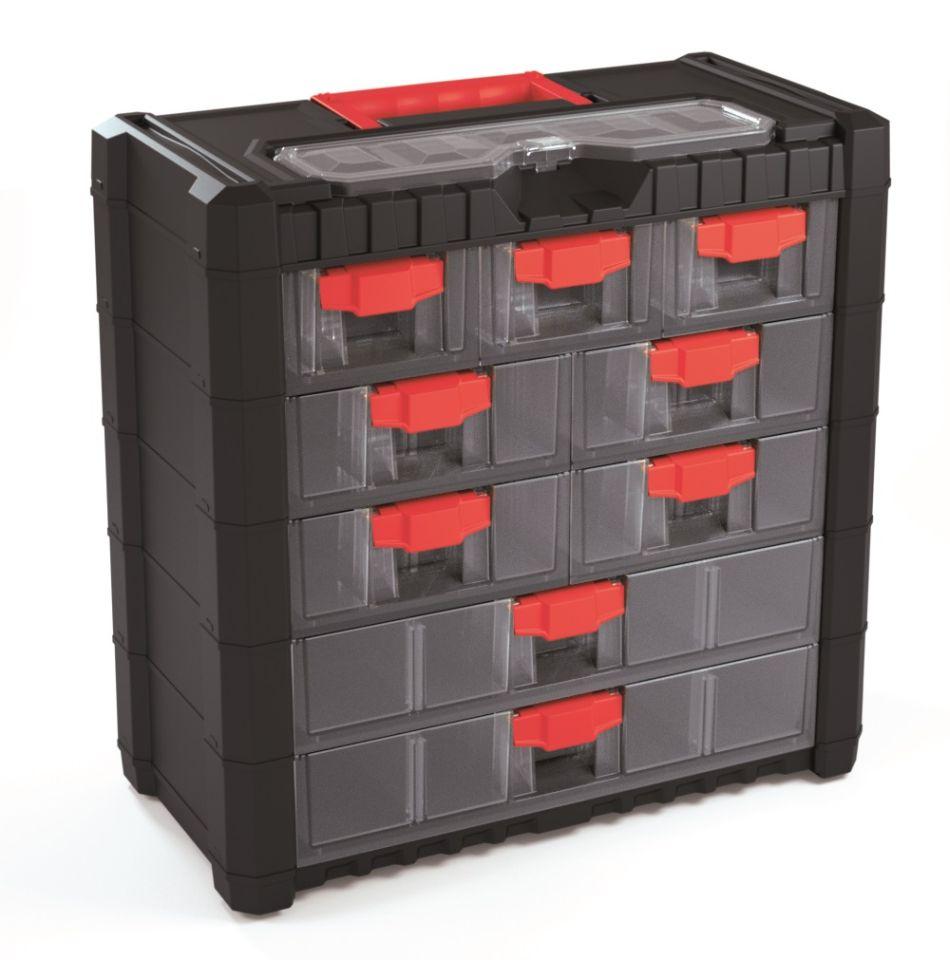 PROSPERPLAST Plastový organizér závěsný MULTICASE CARGO 400x200x392 červené úchyty