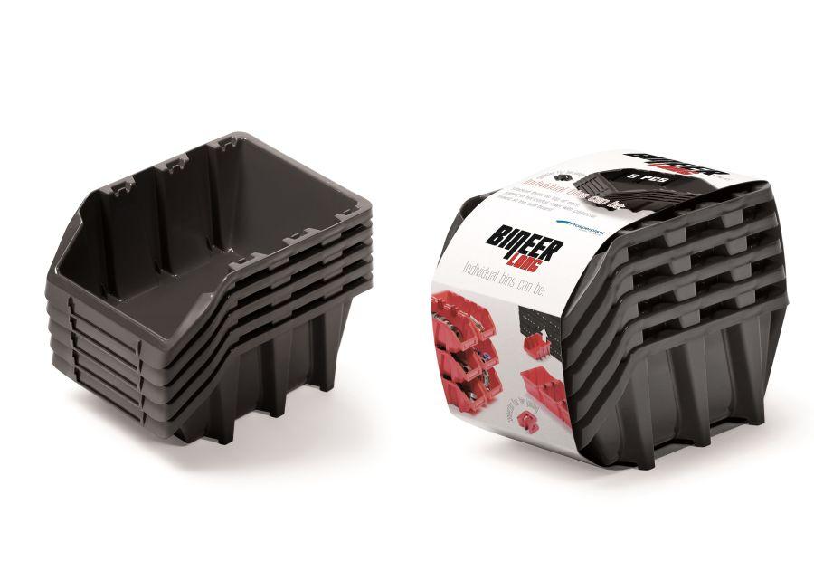 PROSPERPLAST Set plastových úložných boxů 5ks BINEER LONG SET 198x118x155 černý