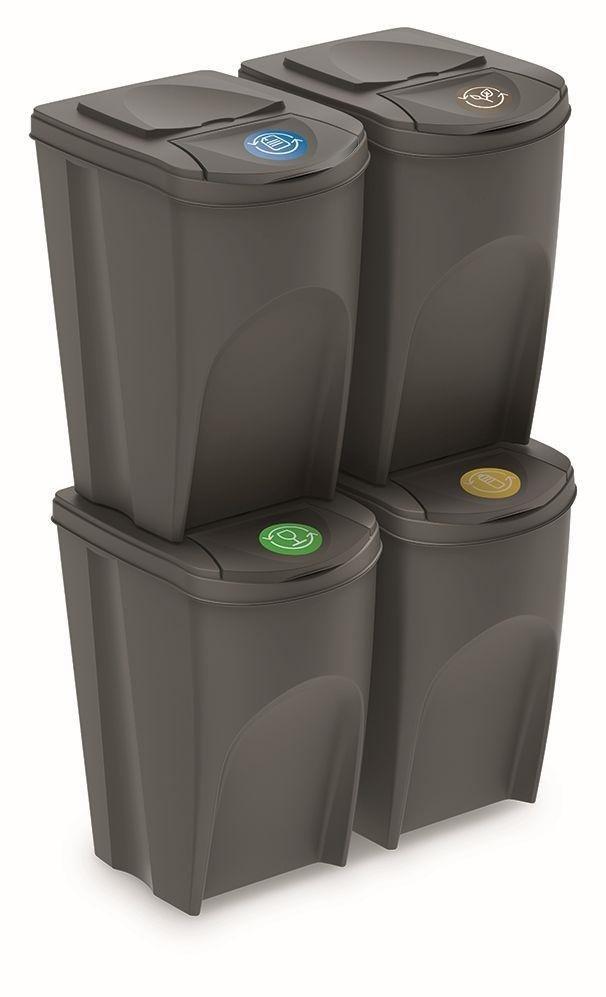 PROSPERPLAST Sada 4 odpadkových košů SORTIBOX šedý, objem 4x35L