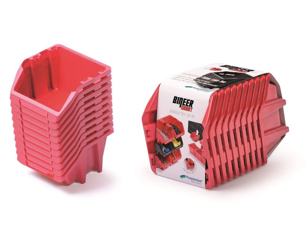 PROSPERPLAST Set plastových úložných boxů 10ks BINEER SHORT SET 288x158x187 červený