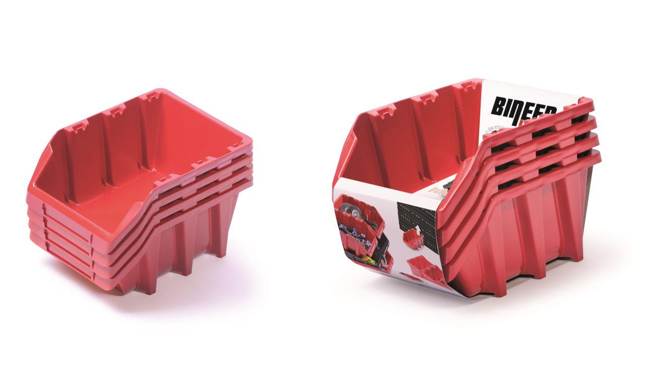 PROSPERPLAST Set plastových úložných boxů 4ks BINEER LONG SET 295x198x195 červený