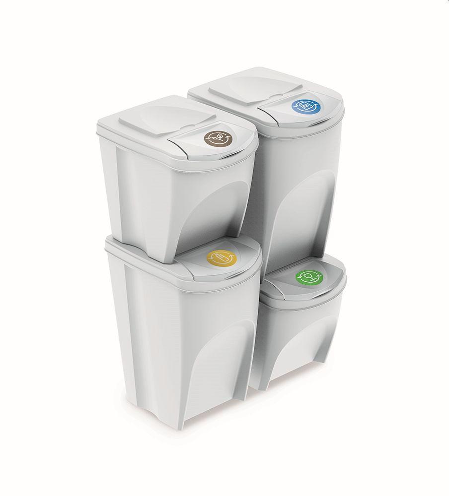 PROSPERPLAST Sada 4 odpadkových košů SORTIBOX bílá, objem 2x25l a 2x35l