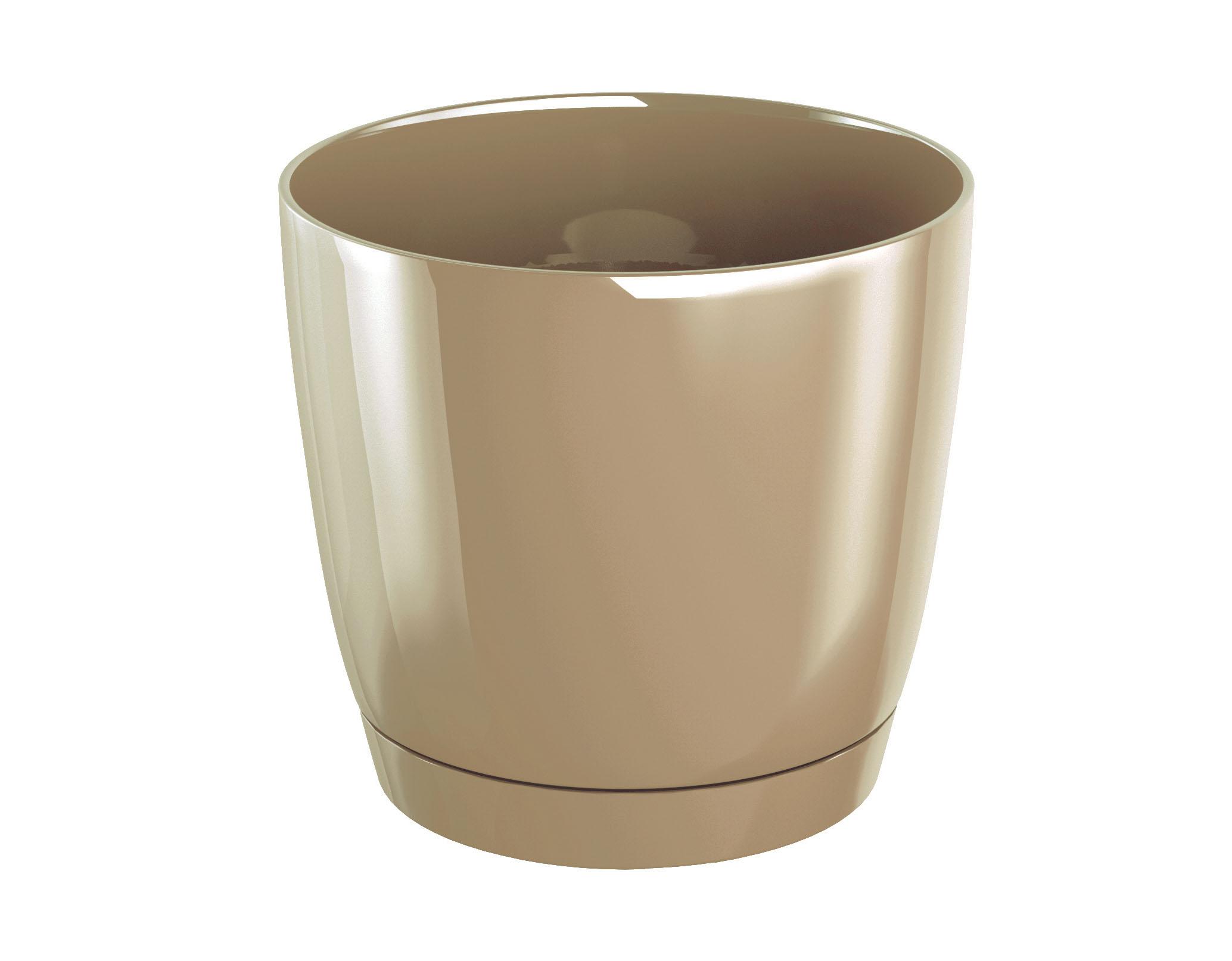 PROSPERPLAST Květináč COUBI ROUND P s miskou káva s mlékem 18cm