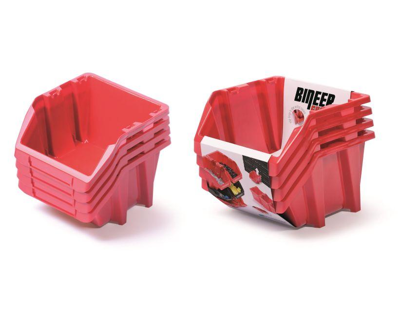 PROSPERPLAST Set plastových úložných boxů 4ks BINEER SHORT SET 272x238x236 červený