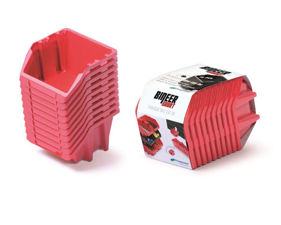 PROSPERPLAST Set plastových úložných boxů 10ks BINEER SHORT SET 180x98x118 červený