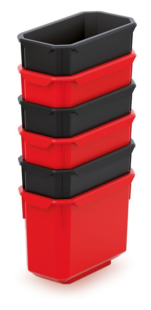PROSPERPLAST Sada 6 plastových boxů na nářadí X BLOCK BOX 140x75x280 černé/červené