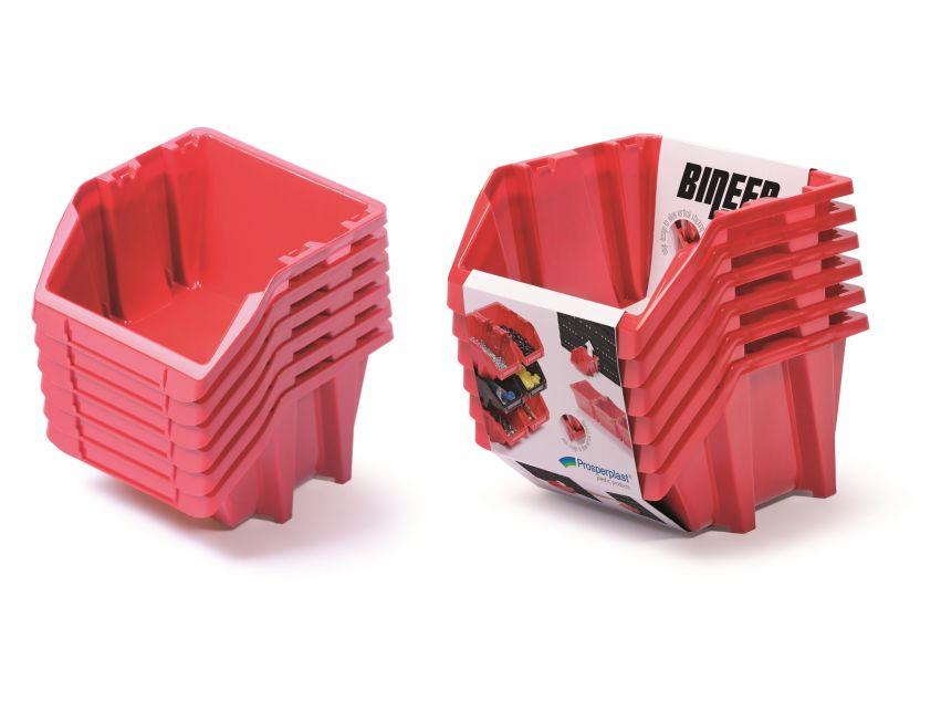 PROSPERPLAST Set plastových úložných boxů 6ks BINEER SHORT SET 214x198x238 červený
