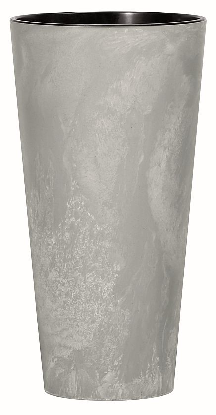 PROSPERPLAST Květináč s vkladem TUBUS SLIM BETON EFFECT šedý 15cm
