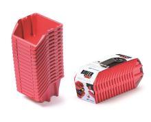 Set plastových úložných boxů 16ks BINEER SHORT SET 234x77x92 červený