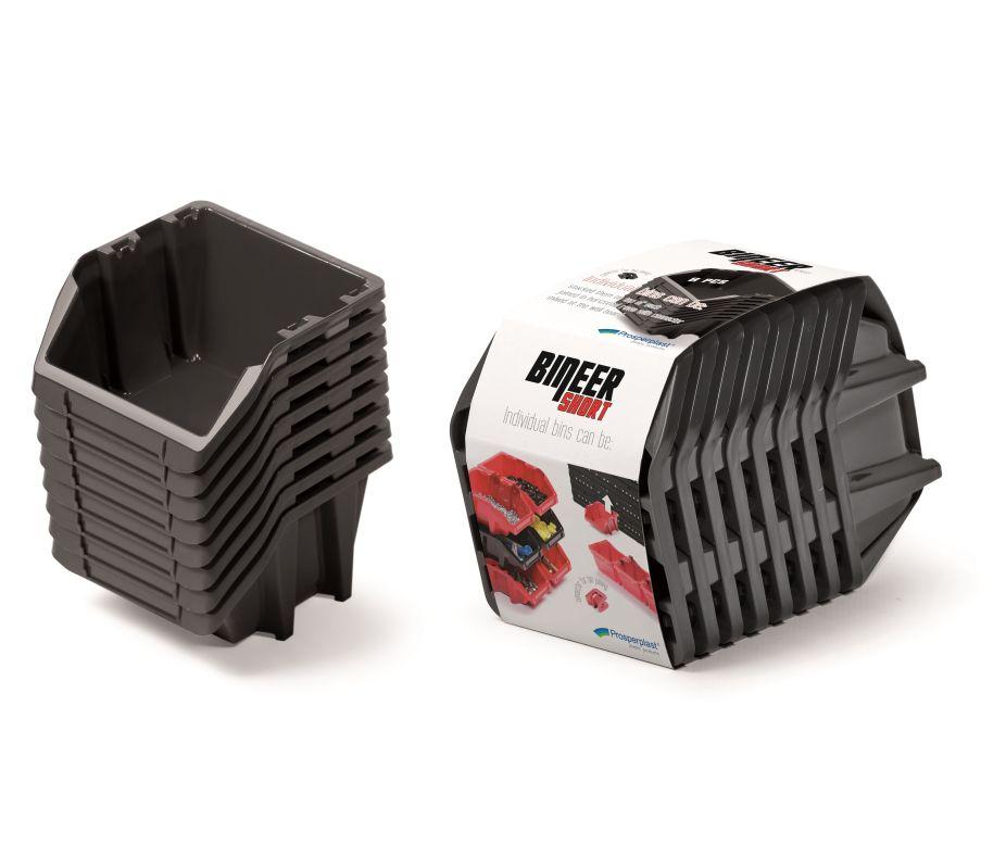 PROSPERPLAST Set plastových úložných boxů 8ks BINEER SHORT SET 206x118x144 černý