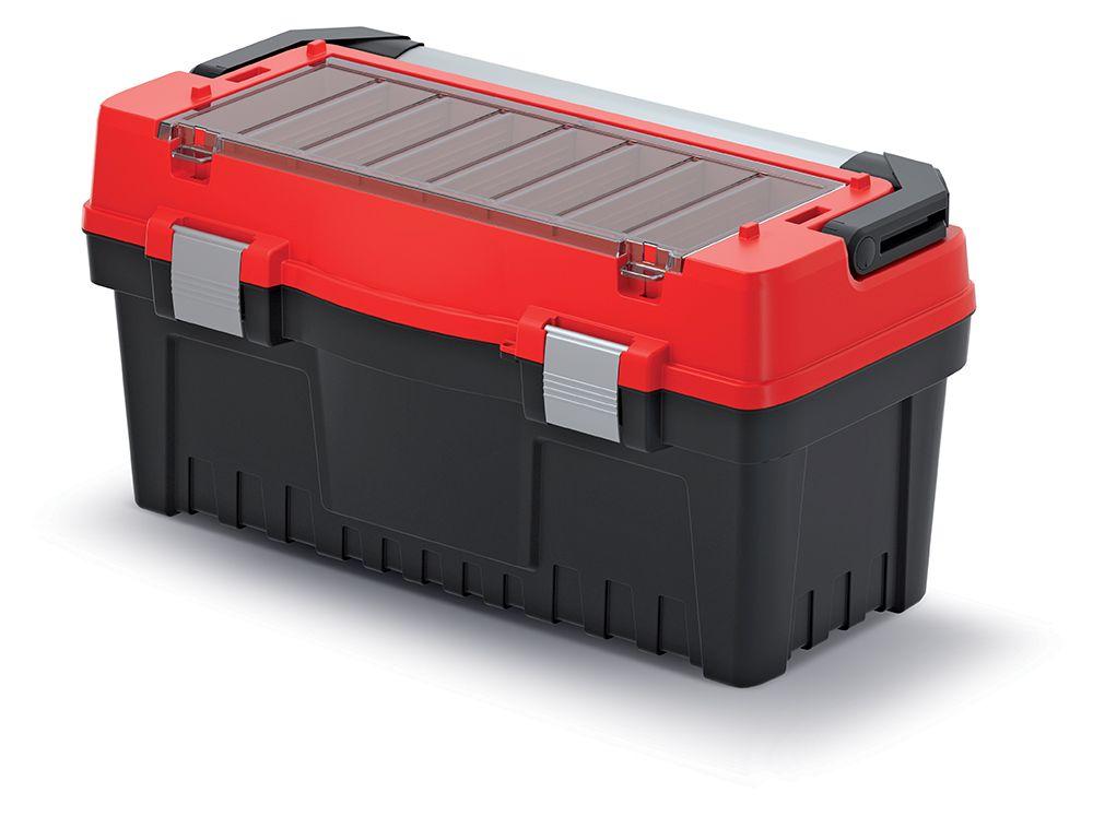 PROSPERPLAST Kufr na nářadí s kov. držadlem a zámky EVO červený 594x288x308