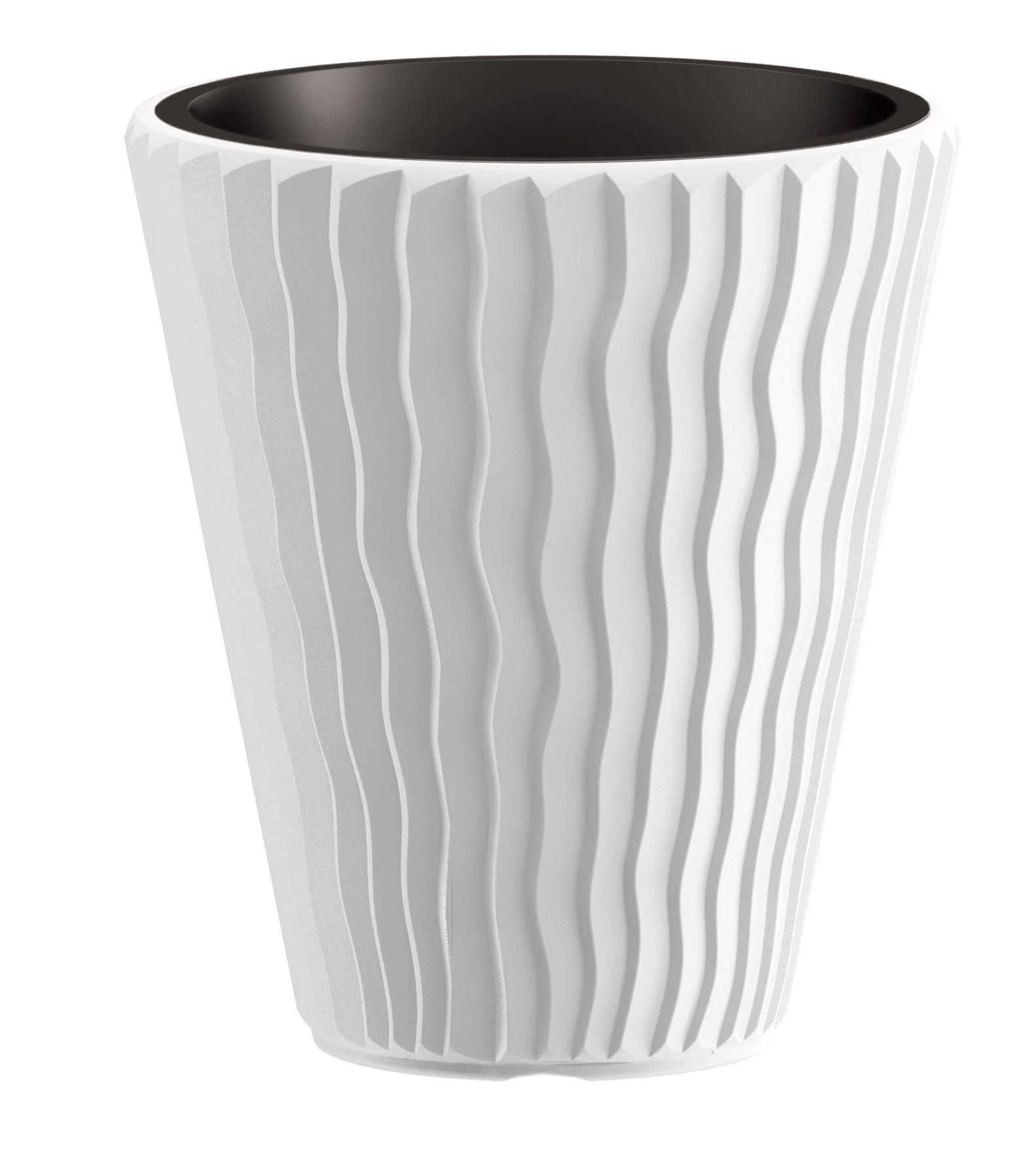 PROSPERPLAST Květináč SANDY + vklad bílý 34,9 cm