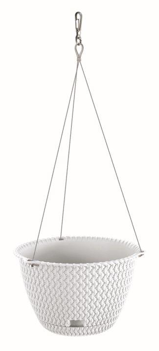 PROSPERPLAST Květináč závěsný SPLOFY ROUND WS bílý 27cm
