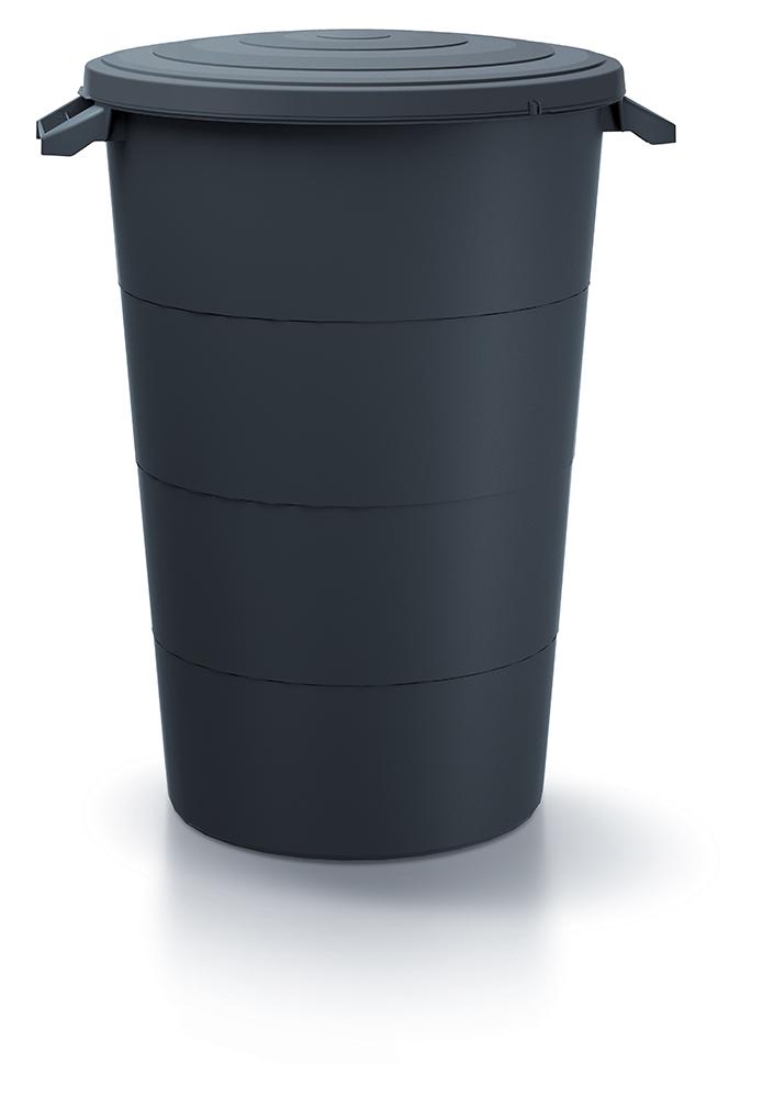PROSPERPLAST Plastová nádoba s úchyty SMOOTH antracit 80l