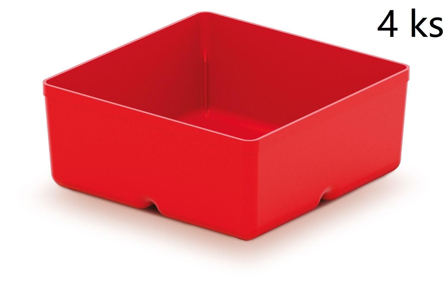 PROSPERPLAST Sada 4 plastových boxů na nářadí UNITE BOX 110x110x112 červené