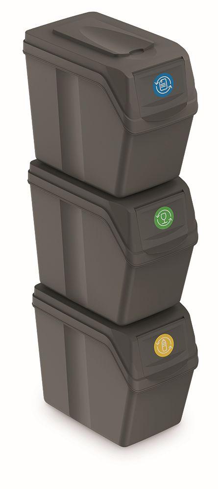 PROSPERPLAST Sada 3 odpadkových košů SORTIBOX I šedý kámen, objem 3x20L