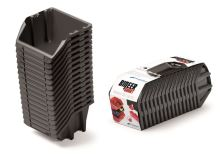 Set plastových úložných boxů 16ks BINEER SHORT SET 234x77x92 černý
