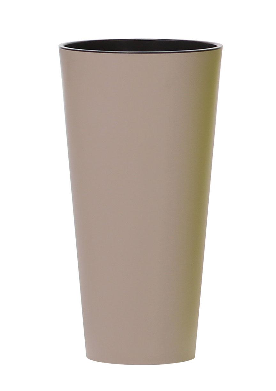 PROSPERPLAST Květináč TUBUS SLIM + vklad mocca mat 15cm