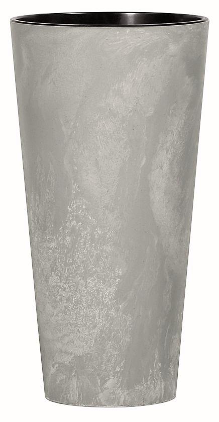 PROSPERPLAST Květináč s vkladem TUBUS SLIM BETON EFFECT šedý 40cm