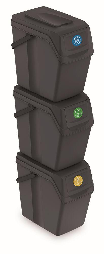 PROSPERPLAST Sada 3 odpadkových košů SORTIBOX II antracit, objem 3x25L