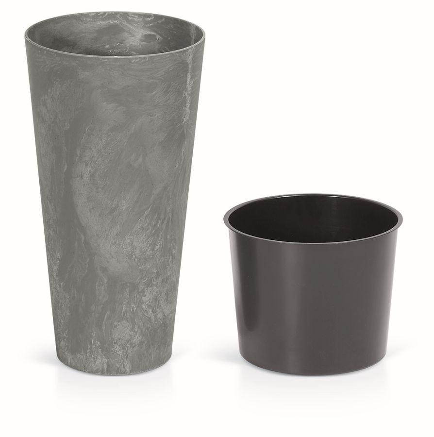 PROSPERPLAST Květináč TUBUS BETON SLIM EFFECT + vklad marengo 40 cm